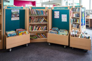 Image showing the book shelves for Junior Fiction and Young Readers section of the library