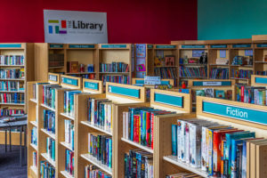 A selection of books in a library
